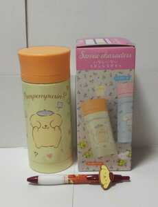 匿名配送 サンリオキャラクターズ ポムポムプリン グッズ2点(Cafe TSUBAKI ボールペン・いないいない ステンレスボトル) カフェツバキ 水筒