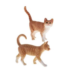 S-068 ☆2個セット♪ミニサイズ かわいい 猫フィギュア おもちゃ 現実的な猫 置物 装飾