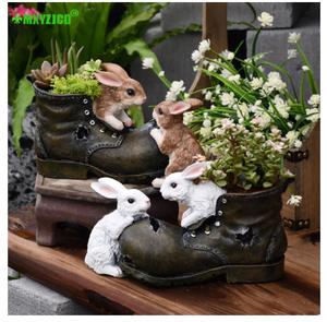 S-069 ☆【カラー2種類】ガーデニング ウサギ 樹脂 植木鉢 靴 鉢植え 動物 彫刻工芸家の装飾アクセサリー