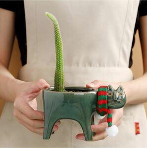 S-120 【カラー2種類】かわいいスカーフ猫ちゃんのセラミック植木鉢 多肉植物プランター ガーデンポット