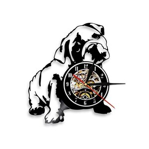 格安 時計 デジタル 壁時計 壁掛け 壁 壁時計 デジタル時計 ブルドッグ ビニール レコード ウォール クロック 動物 子犬 インテリア