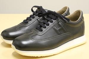 最終モデル 象徴 エルメス Hマーク クイック Hロゴ レザー スニーカー HERMES シューズ イタリア メンズ 男性 革靴 ブラック 黒 41 (26.0)