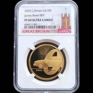 最後の1枚 2020 英国 007 ジェームズ・ボンド 第1貨 100ポンド 金貨 1オンス プルーフ NGC PF 69 UC 準最高鑑定 完全未使用品 元箱付
