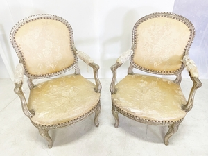 ヨーロッパアンティーク当時物/鋲打ちアームチェア 椅子 サロンチェア ロココ調 猫脚
