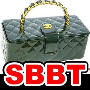 【SBBT】 CHANEL シャネル バニティバッグ メタリック グリーン パテントレザー MG金具 エナメル 化粧バッグ 深緑 本物 未使用