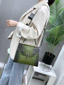 ◆◆ボンベ加工 ショルダーバッグ ハンドバッグ ナイルワニ革 クロコダイル レザー シャイニング 女性鞄 グリーン レディース おしゃれ!