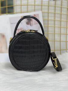 ◆美品◆女性鞄 レディースバッグ クロコダイル ナイルワニ革 ハンドバッグ ショルダーバッグ2way 本革 腹革 手提げ 斜め掛け ブラック