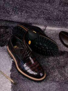 クロコダイル ワニ革 手染め 24~27cm メンズシューズ 本物 航空機タイヤソール スニーカー ローファースリッポン モカシン 通勤 紳士靴