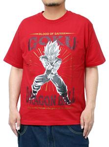 【新品】 2L レッド DRAGONBALL(ドラゴンボール) 半袖 Tシャツ メンズ 大きいサイズ キャラクター プリント 孫悟空 クルーネック カットソ
