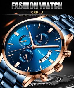 メンズ腕時計CRRJUステンレス鋼ファッション腕時計メンズトップブランド高級防水日付クォーツ時計レロジオmasculino*