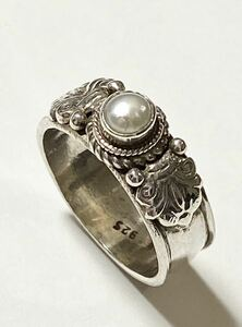 Pearl ring Freshwater Pearl Silver 925 Silver 15.5 Natural Stone Accessories