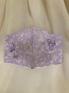 立体インナー ルシアン 小花柄 パープル お花飾り ハンドメイド ゴム紐アジャスターつき