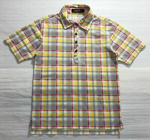《le coq sportif GOLF ルコックゴルフ》ロゴ刺繍 チェック柄 半袖 ポロシャツ M