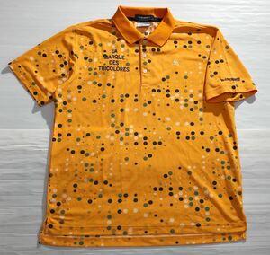 《le coq sportif GOLF ルコックゴルフ》ホワイトライン ロゴ刺繍 ドット 総柄 半袖 ポロシャツ オレンジ L