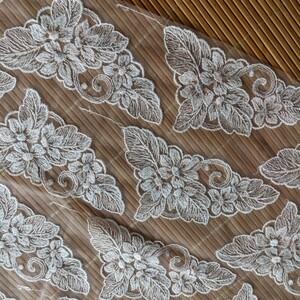 刺繍 レース 生地 花柄 オーガンジー 2枚
