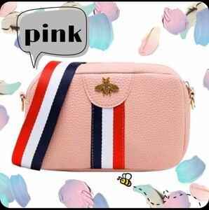 ★人気商品★蜂マークミニショルダーバッグ レディース 韓国ファッション ピンク