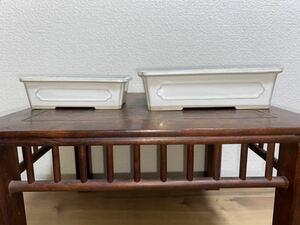 盆栽鉢 長方 白 クリーム 釉 窓入 小品盆栽 鉢 植木鉢 2点セット