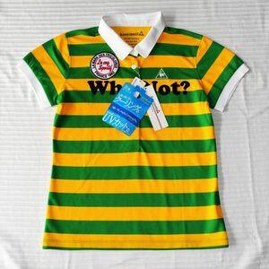 ★新品★ルコックゴルフ★黄色と黄緑のとても可愛いボーダー  UV・吸汗速乾性ある半袖ポロシャツ/ゴルフ場で目立つセンスの良いシャツ L