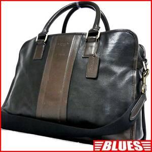 即決★COACH★オールレザービジネスバッグ オールドコーチ メンズ 黒 茶 本革 かばん 本皮 ショルダーバッグ 通勤 ブリーフケース 出張 鞄