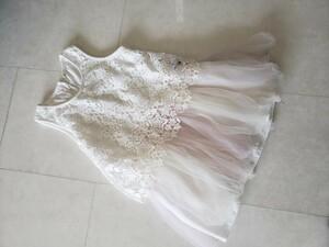 チュールワンピース ノースリーブ星虹色ホワイト薄ピンククリーム130
