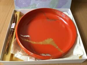 ♪未使用 手描きコレクション 菓子器(お盆) 合成漆器 お箸(天然木) セット♪