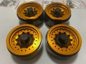 国内即納4本セットゴールド ビードロック 1.9インチ アルミホイール RCクローラー TRX4 SCX10 RC4WD CC02 01 アキシャル トラクサス タミヤ