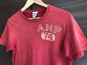 送料無料 メンズ S ABERCROMBIE&FITCH Tシャツ アバクロンビー フィッチ ヴィンテージ加工 半袖 アバクロ アメカジ 20年前 赤 レッド 美品