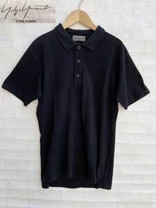 yohji yamamoto POUR HOMME ヨウジヤマモト プールオム 刺繍 鹿の子 半袖 ポロシャツ size 1 日本製 HO-T07-077 シャツ