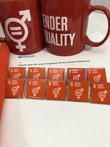 SDGsピンバッジ 10個(5: ジェンダー平等の実現 ・ジェンダーイコール(国連ブックショップ購入・送料無料)(ラバークラスプ再生素材)UN36