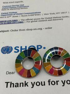 SDGs ピンバッジ 2個(1760円税込)(国連ブックショップ購入・送料無料)(新品未使用)(保存袋付2枚き)UN12