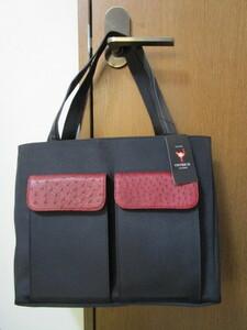 未使用★オーストリッチレザー×ナイロン・トートバッグ(ショルダーバッグ)★レザー深い赤色・送料無料・タグ付き・保存袋付き