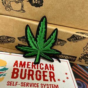 アイロンワッペン 刺繍ワッペン マリファナ オシャレ アップリケ ストリート レゲエ reggae グリーン 葉っぱ 大麻
