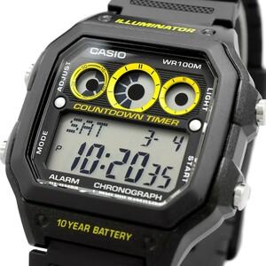 送料無料 腕時計 CASIO カシオ 海外モデル AE-1300WH-1AV チープカシオ ワールドタイム レフリータイマー デジタル メンズ