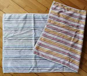 今治産 バスタオル ストライプ柄 B品 オレンジ ブルー 残糸織