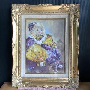 絵画 油彩 S.chie ピエロ人形画 1994.6.7製作 額寸:38×47cm 詳細不明