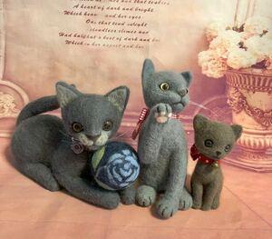羊毛フェルト 猫 ネコ 大中小 3匹セット★ハンドメイド 作品 ♪ グレー・ブラウン・ライトグレー ♪