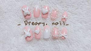 量産型 うさぎ ピンク 白 3Dネイル ゆめかわ ジェルネイル リボン 付け爪 ネイルチップ ジェルネイル