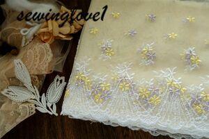 即決●1m単位●幅18cm●チュールレース小花柄フラワースカラップ黄色イエローパープル紫藤色オフ白ドール衣装アウトフィット素材
