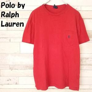 【人気】Polo by Ralph Lauren/ポロ ラルフローレン 胸ポケット ワンポイント刺繍ロゴ ミニポニー クルーネック Tシャツ レッド M/9364