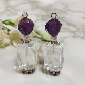 天然石チャーム ピアス・イヤリング 水晶 フローライト パール ビジュー 香水瓶