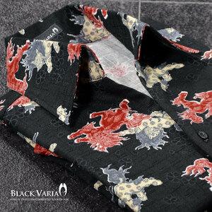 6#935154-dbk [SALE] BLACK VARIA 和柄 唐獅子 撫子 スキッパー 綿コットン アロハ調 長袖シャツ メンズ(ブラック黒レッド赤) M なでしこ