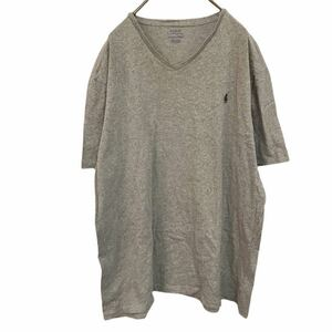 Polo Ralph Lauren ポロラルフローレン 半袖Tシャツ Vネック グレー ワンポイント刺繍ロゴ インドネシア製 XL YT1713 km