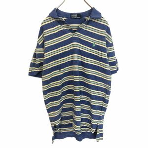 POLO by RALPH LAUREN ポロバイラルフローレン 半袖 ポロシャツ メンズM 太ボーダー ワンポイント刺繍ロゴ ポニー YT1684AY