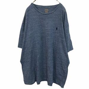 Polo Ralph Lauren ポロラルフローレン クルーネックTシャツ コットン 半袖 ワンポイント刺繍ロゴ 霜降り ブルー YR7 km