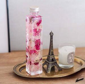 ◆フラワーギフト◆ ピンクパープル ハーバリウム 角型 プリザーブドフラワー インテリアフラワーアレンジメント 生花 プレゼント