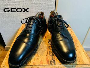 707)GEOX RESPIRA ストレートチップ 黒 25.5EEE 日本製 ビジネスシューズ レザーシューズ