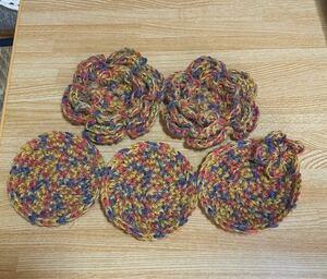 ハンドメイド お花のモチーフ2枚とコースター3枚セット