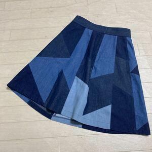 1905☆ Rey BEAMS レイ ビームス スカート ミニスカート デニムスカート フレアスカート パッチワーク 0 レディース インディゴ ブルー