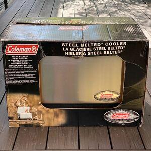 希少 アメリカ購入 2003年製 美品 コールマン 54Qtスチールベルトクーラー アンティーク