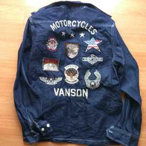 【美品】 バンソン デニムジャケット 長袖 Mサイズ / Vanson ライダースジャケット シャツ